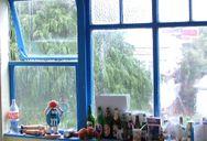 Rain pours down