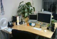 My desk as I leave it at the end of the day.